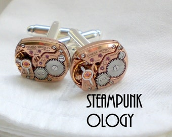Steampunk Vtg MINTY Omega Watch Movement Cufflinks Cuff Link Set, Wedding Day Groom Bride Gift, Rose Gold / Silver, Unisex, Steampunkology