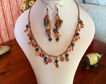 Copper coils and druzy beads necklace set