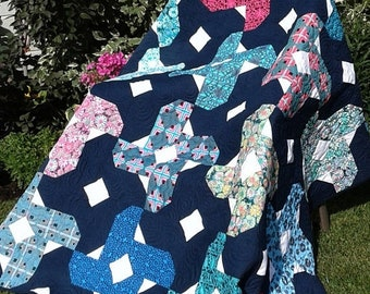 ETSY BIRTHDAY SALE Patchwork Quilt, Modern Quilt, Blue Quilt, Wedding Gift, Free Shipping, Housewarming Gift, Quilts For Sale, Handmade Quil