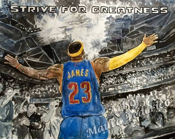 11X14 Giclee Print of Original LeBron James Watercolor Painting