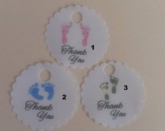 """20 60 100 Scalloped Round Baby Shower Baby Feet Thank You Favor Tags 1.5"""" Size"""
