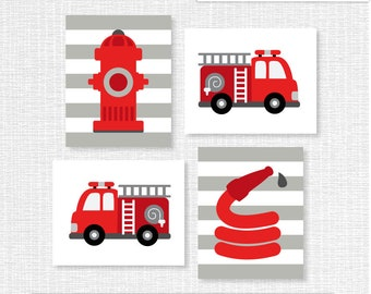 INSTANT DOWNLOAD Fire truck, Red Gray White Fire truck Nursery Printable, Fire truck prints Set of 4, 8x10, Fire truck Wall art