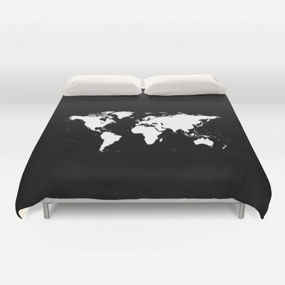 World map duvet cover decorative bedding world map bedding world map duvet cover decorative bedding world map bedding bedroom blanket black white bedding modern bedding chalkboard black bedding gumiabroncs Image collections
