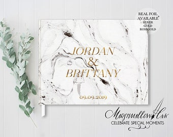 Marble Wedding Guest Book, Personalized Wedding Gift for Bride, Hardcover Guest Book, Bridal Shower Gift, Polaroid Guestbook Ideas Gold Foil
