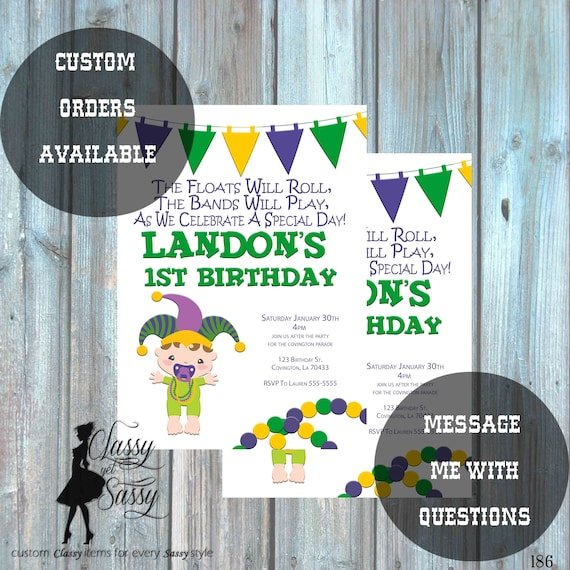 Mardi Gras Birthday Party Invitation, Mardi Gras Party, Parade party,  New Orleans Baby, New  -187