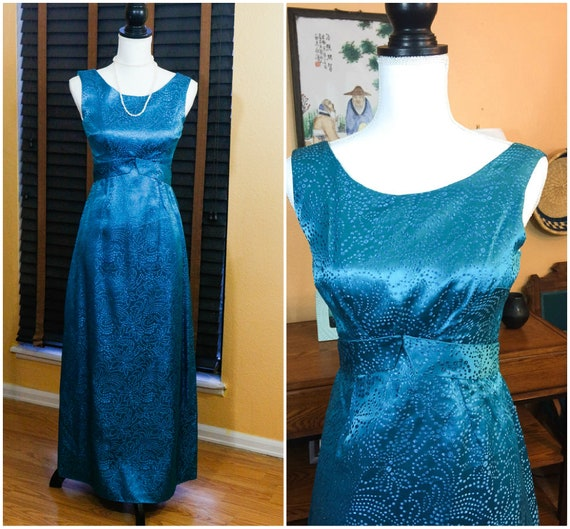 Deep Teal Turquoise Evening Dress, Empire Waist, Sparkly Fabric, Special Occasion Bridesmaid, Size XS Small, 1960s Vintage Clothing