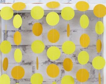 Yellow Paper Garland - Circle Garland - Gender Neutral Baby Shower