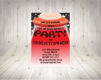 CUSTOMISABLE UFO Party Invitation RED