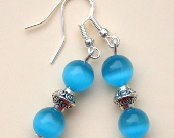 Blue Mexican Opal Gemstone Earrings with Sterling Silver Hooks New Pair LB28