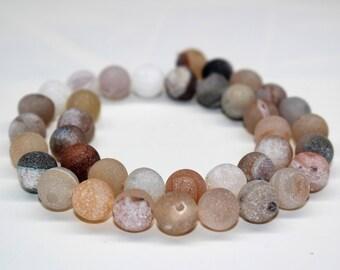 Matte White Drusy Agate Gemstone Round Loose beads 6/8/10mm