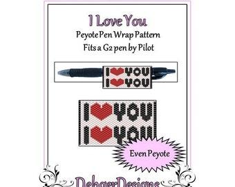 Bead Pattern Peyote(Pen Wrap/Cover)-I Love You
