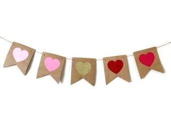 Valentines day banner , Heart banner , Love banner , Valentines day decorations , Heart decor , Anniversary banner, Birthday banner , Hearts