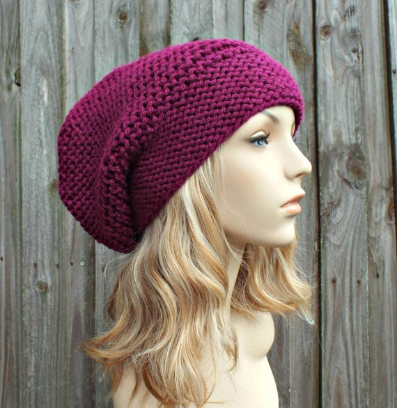 Magenta Pink Slouchy Knit Hat - Womens Hat Slouchy Beanie - Slouchy Hat Pink Hat Pink Beanie Womens Accessories Winter Hat - READY TO SHIP