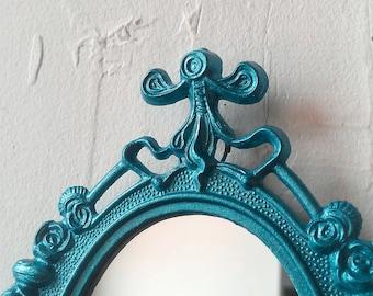 Vintage Oval Mirror in Shimmering Aqua Decorative Metal Frame, Teal Home Decor, Nursery, Apartment Wall, Small Frame Collage, Secret Santa
