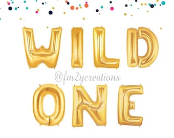 WILD ONE | WILD One Gold Birthday Banner | First Birthday One Balloon Banner | Wild One Balloon Banner | First Birthday Party Decor