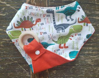 DINO with Orange Waterproof Reversible Interchangeable Teething Bib