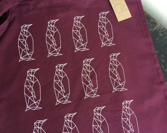 Burgundy Geometric Penguin Pattern Tote Bag