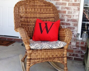 Monogram  Pillow Cover - 16-inch - Red with black monogram