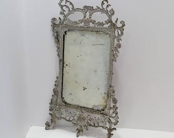Victorian Gilt Silver Cast Iron Rectangular Lead Mirror