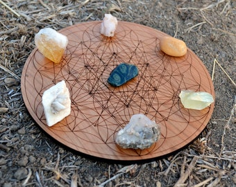 Sacred Geometry Trifect Laser Cut Crystal Grid Display - Natural Cherry Hardwood Wood Wooden Flower of Life Charging Plate