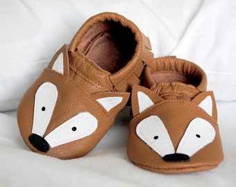 Fox moccasins with genuine leather baby moccasin toddler infant mocs soft-soled moccs shoe handmade