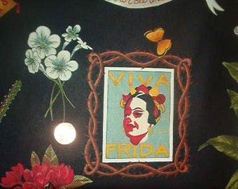 VIVA FRIDA cotton fabric by Alexander Henry-cotton, quilt-Fida Kahlo, Mexican artist-1 yard