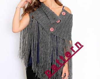 Fringed Neck Warmer Crochet Pattern. Winter Crochet Pattern. Crochet Neck Warmer Pattern, Winter Scarf, Winter Crochet, Gifts For Her,