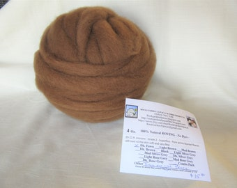 4 oz Dark Fawn Alpaca SUPERFINE (Peony) Roving - for Spinning, Nuno Felting or Needlefelting
