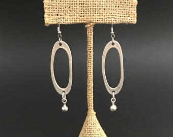 Sterling Silver Plated Oval Drop Gypsy Earrings Boho Bohemian Gifts for Her