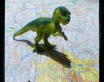 CLEARANCE Dinosaur Art for Boys Room Photo of a T Rex Dinosaur on a Pittsburgh Map Tyrannosaurus Rex TTV 5x5 inch Print called  Herbert