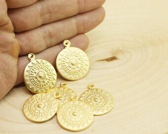 Matt Gold Plated Tribal Pendant, 23x27 mm, Talisman Pendant, Gold Pendants, Medallion Pendant, Ethnic Pendant, Round Pendant, Bzm066