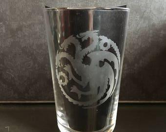 Game OF Thrones House Targaryen  Glass Tumbler