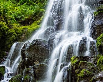 Fine Art Photo Print, Fairy Falls Columbia River Gorge Waterfall Oregon Pacific Northwest Green Water Wahkeena Landscape Nature Photography