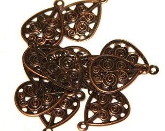50 pcs of Antiqued copper filigree drops 17x12mm