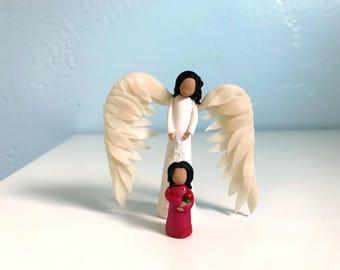 Guardian Angel - Miniature Guardian Angel Figurine Set - Little Girl and Angel - Protector Angel - Angel Wings Angel
