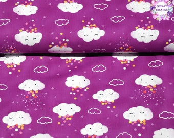 Michael Miller Pitter Patter Showery/Purple/Cotton/Fabric/Sewing/Quilting