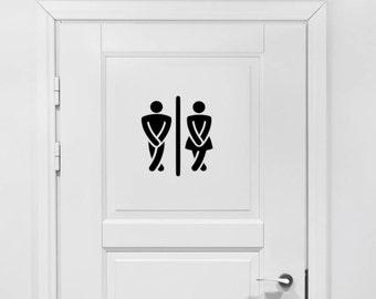 Bathroom Vinyl Decal - Bathroom Decor, Male Female Bathroom, Crossed Legs Restroom Decal, Men's Women's Bathroom Vinyl, Bathroom Sticker 9x8