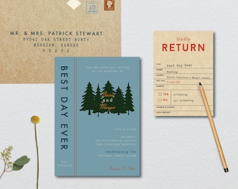Wes Anderson Forest Library Wedding Suite // DIY PRINTABLE Invite + RSVP // Modern Wedding, Forest Wedding, Camp Wedding, Library Wedding