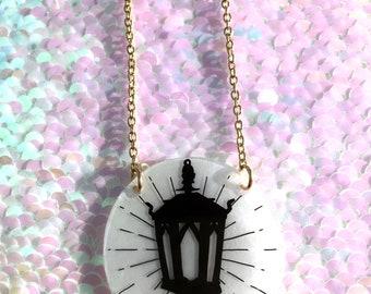 Lantern Necklace - Circle, Halloween, Spooky, Gothic