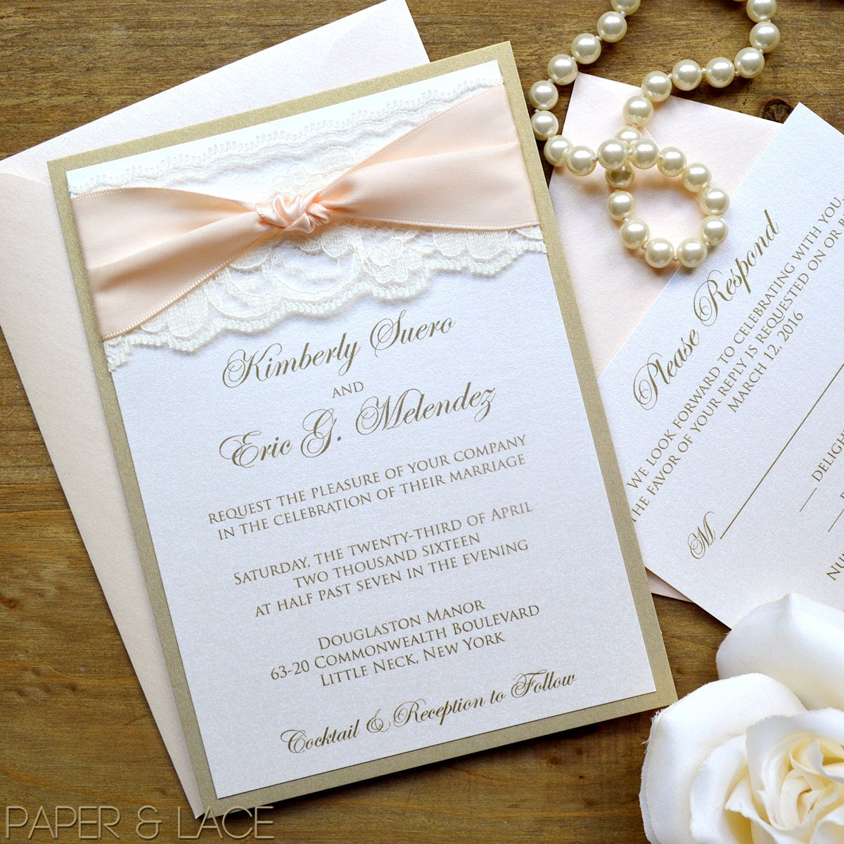 THE KNOT - Blush and Gold Wedding Invitation - Classic Lace Wedding ...