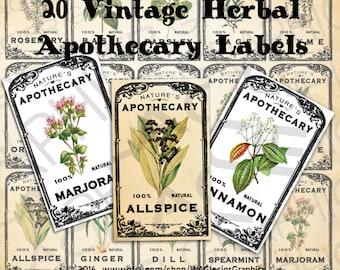 Vintage Herb Apothecary Labels Vintage Herbal Tags Digital Download Herb Labels Vintage Printable Tags
