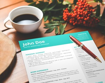 Simple Resume Template | CV Template | + Cover Letter | Modern Design | Full Width & Easy to Customize | PowerPoint | Instant Download | PDF