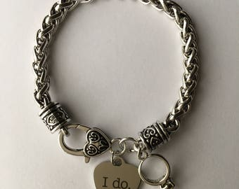 "Bride-to-Be Wedding Day High Quality Antique Silver Heart Clasp Bracelet - Charms: Stainless Steel Laser Engraved ""I DO"" and Engagement Ring"
