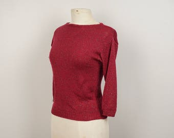 Brick Red Sweater with Metallic Thread 80s vintage Boat Neck knit pullover Small