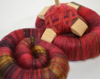 "Sweet Rolls - Rolags - Punis - Fiber hand blended for spinning - ""Chinese Lantern"" - Ready To Ship"