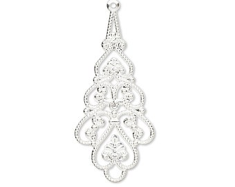 10 Silver Plated Brass Metal Filigree Drop Chandelier Earring & Pendant Finding Charms
