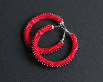 Red Hoop Earrings, Red Steampunk Earrings, Red and Black Hoop Earrings, Red Beaded Hoops, Chic Hoops,  Red Spiky Earrings MADE TO ORDER