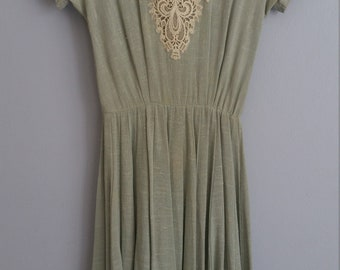 Vintage 1950s linen dress with lace bodice + matching coat