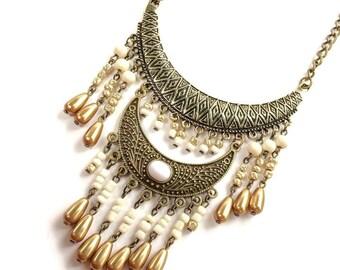 Dylantex Tribal Necklace   Ivory Ethnic Necklace   Boho Bib Necklace   Statement Necklace   Tribal Bib Necklace   Boho Jewelry   Boho gift