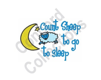 Go To Sleep - Machine Embroidery Design, Count Sheep, Sheep, Moon